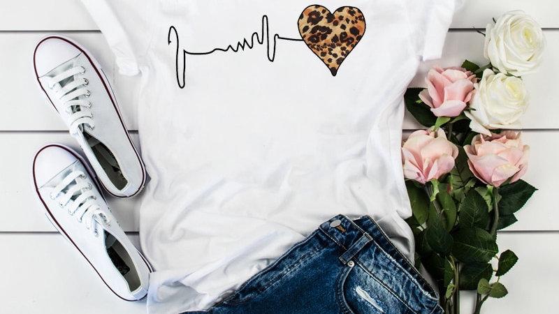 Women Leopard Heartbeat Short Sleeve Print