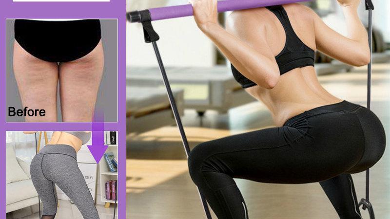 Pilates Stick Bar Resistance Bands Fitness Gym Equipment