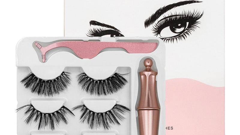 3 Pairs Magnetic Eyelashes Natural Long Magnetic Eyeliner