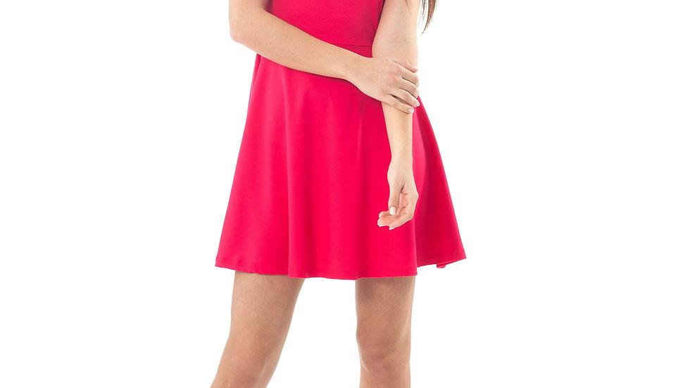 Bow Detail Skater Dress Red