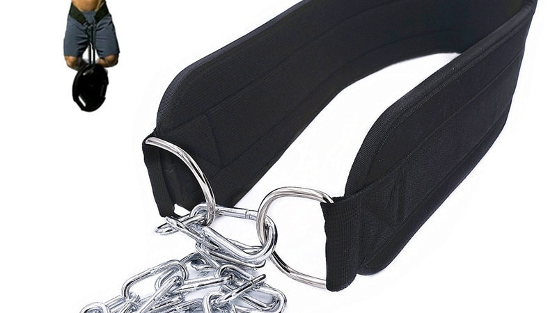 Weight Lifting Dip Belt Neoprene Back Gym Belt With Chain