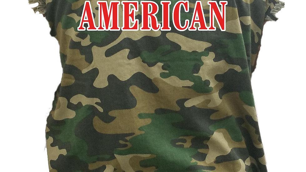 Men's Camo Sleeveless Denim Shirt USA Flag 100% American Denim Vest
