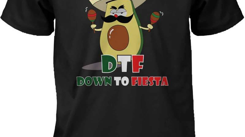 Funny Graphic Statement Mens Black T-Shirt - Down to Fiesta