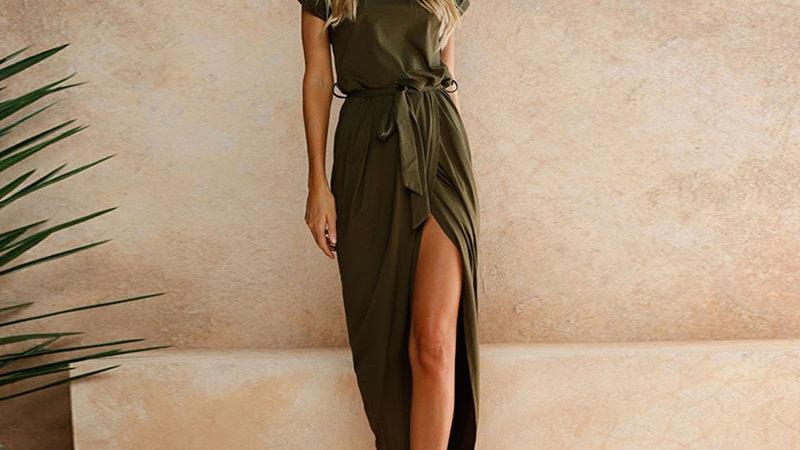 Fashion Split Women Dress Short Sleeve Long Maxi Dress