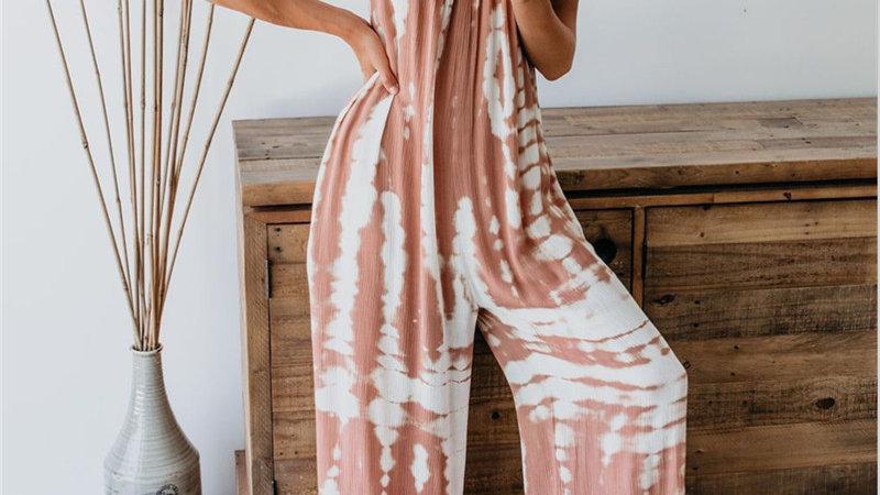 Women Sleeveless Tie-Dye Beach Boho Casual Jumpsuit