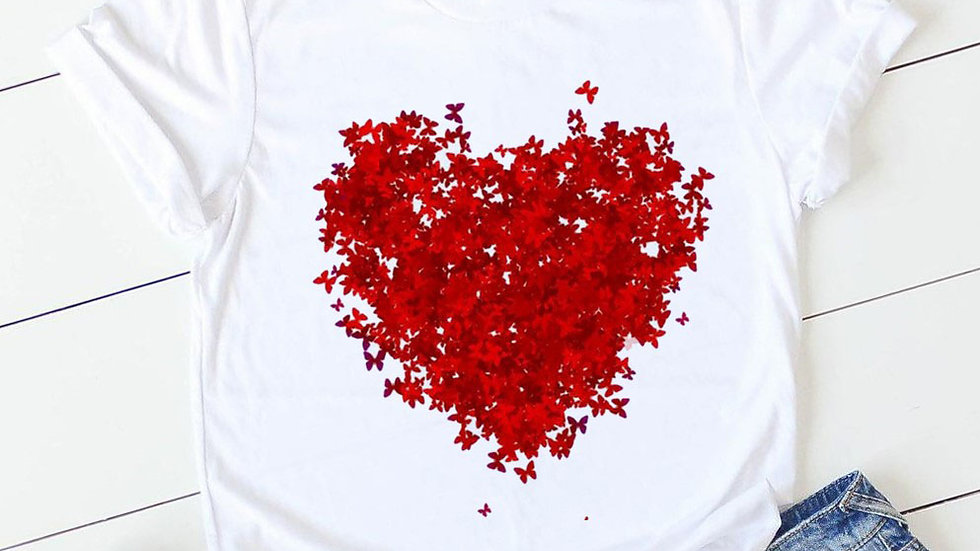 Pink Heart Flower Print Women Tshirt Short Sleeve Print Clothes