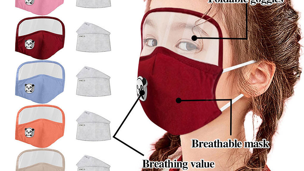 Child Dustproof Outdoor Face Protective Face Mask With Eyes Shield