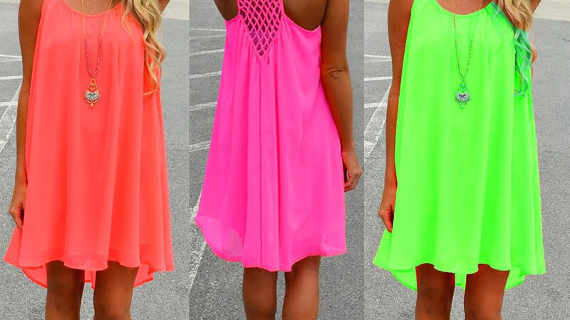 Women Beach Dress Fluorescence Female Summer Dress
