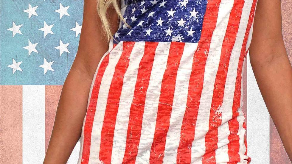 Shore Trendz Women's USA Distressed Flag Burnout Tank Dress