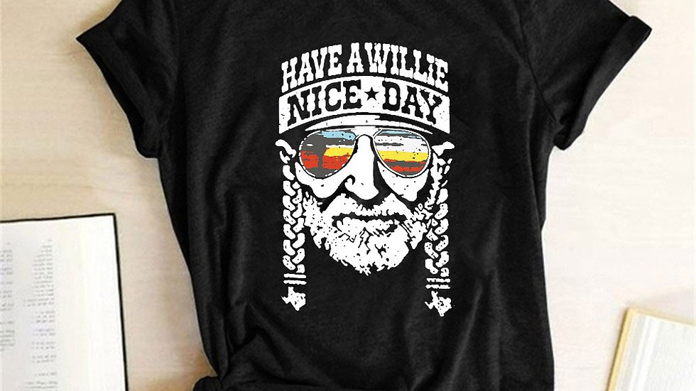 Have a Willie Nice Day Print Women T-Shirt Short Sleeve