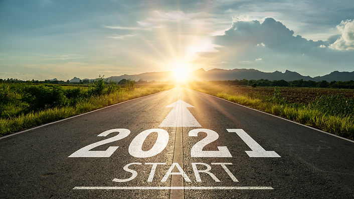 New year 2021 or start straight concept.