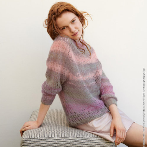 Leichter Pullover aus Silkhair - Print