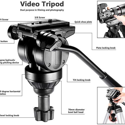 Neewer 10087146 Trípode para Videocámara con Cabeza de Fricción de 360 Grados (