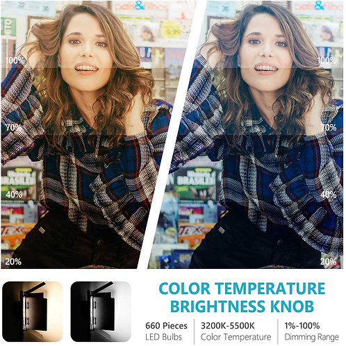 Neewer Professional Metal Bi-color LED Video Luz Regulable para Estudio YouTube