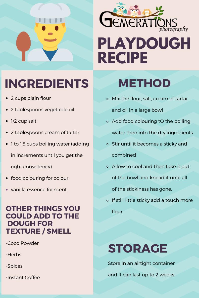 Handmade playdough recipe