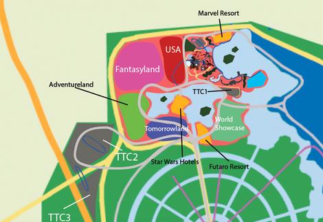 Early Map Design of Walt Disney World 1966 Project