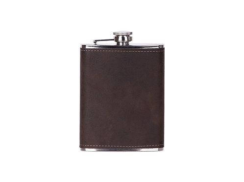 Flasque à boisson cuir brun/noir en cuir AC-567