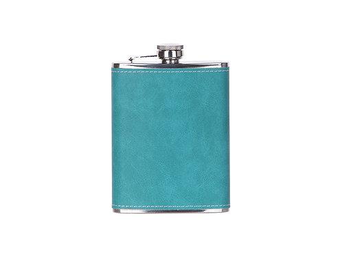 Flasque à boisson en cuir turquoise AC-555