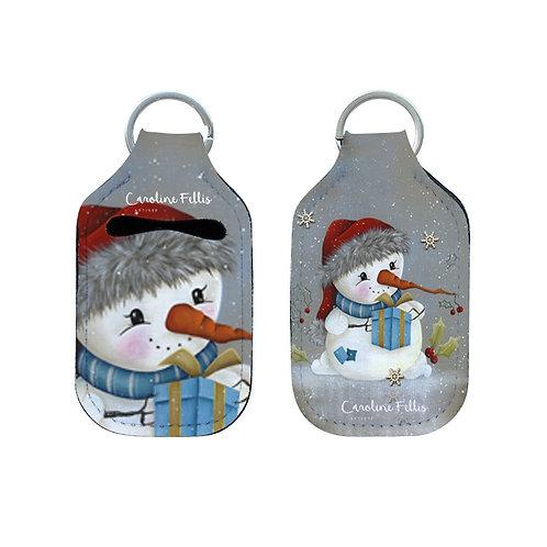 Clé et pochette anti-germe Bonhomme de neige