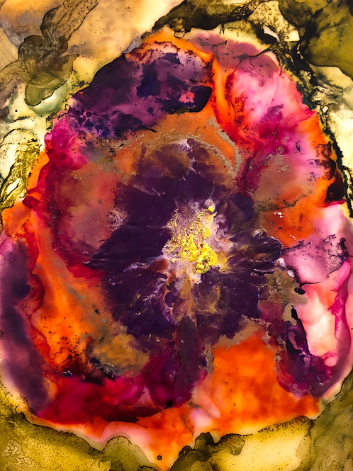 Alcohol Ink & Encaustic Wax