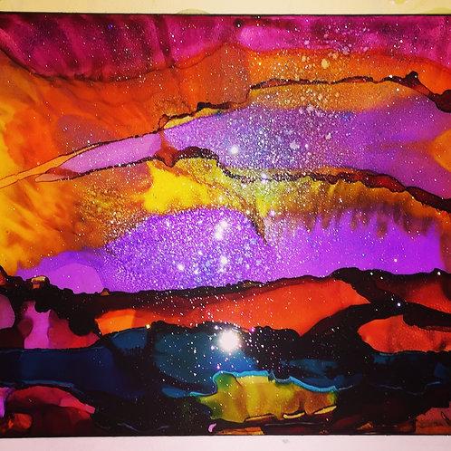 Alcohol Ink Art Tile Coaster