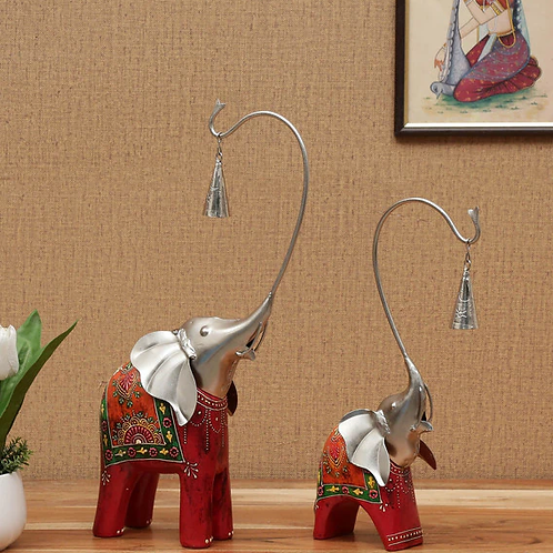 Wrought Iron Elephant Couple Figurines In Red