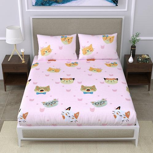 Kids Super Soft 150 TC Double Bedsheet -with 2 Pillow Covers - 3 Pcs Set