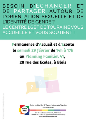 Permanence LGBTI à Blois : samedi 29 février