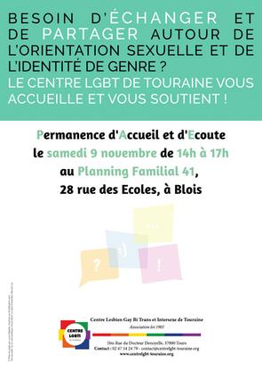 Permanence d'accueil et d'écoute à Blois - 9 novembre