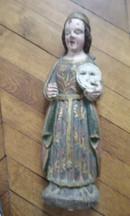 Statuette en bois polychromé