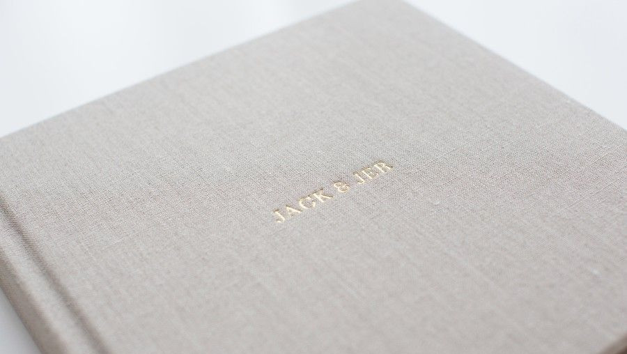Linen cover with debossed foil stamp