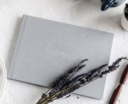 Linen cover guestbook with deboss foil stamp