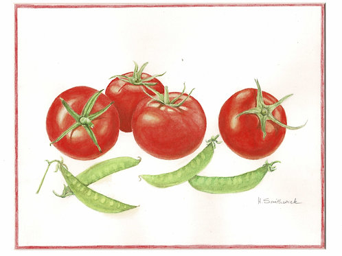 Note Card: Tomatoes and Snap Peas
