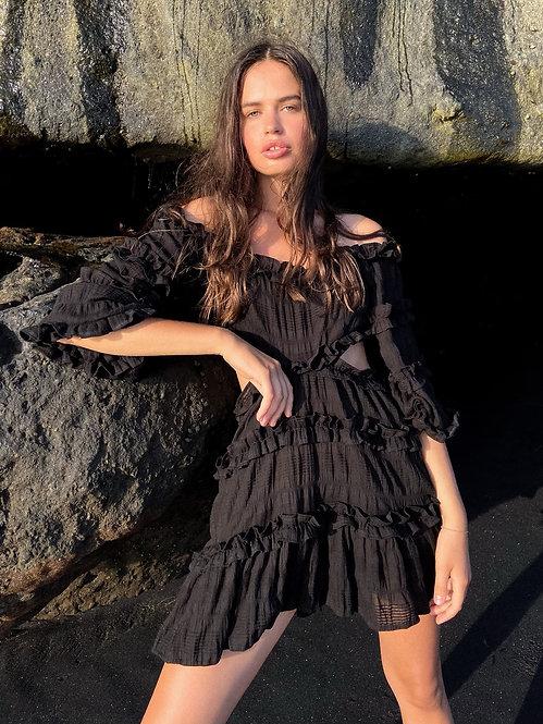 Черное платье Brigitte / 100% хлопок с шитьем