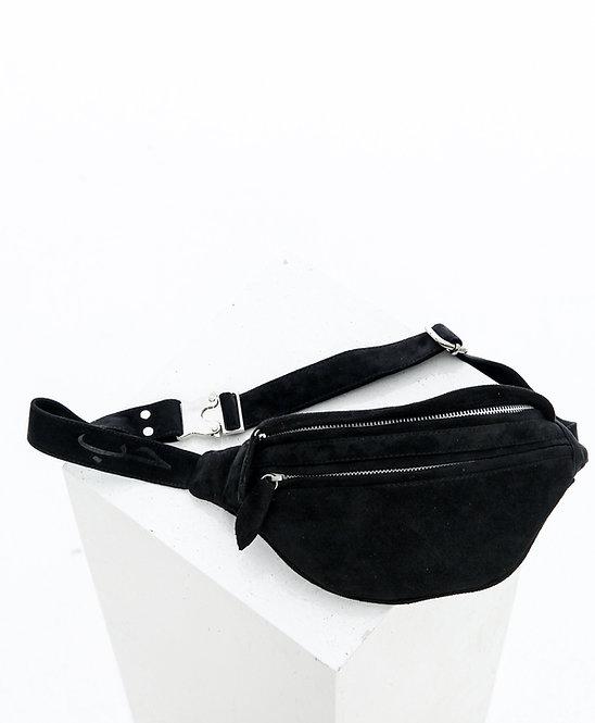 Замшевая сумка на пояс / черный