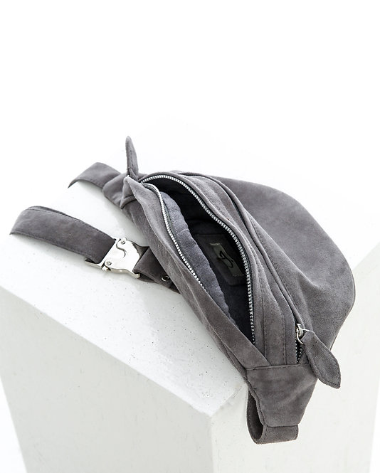 GREY SUEDE BELT BAG