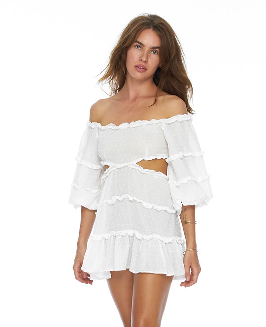 White Brigitte Dress / 100% organic cotton with sewing