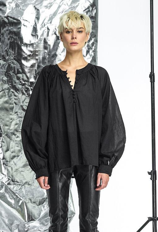 Блуза с широким рукавом / цвет черный