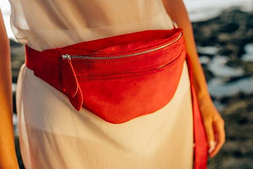 Suede belt bag / red