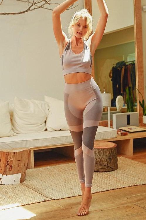 Mauve Space Dye Seamless Bra and Legging Set