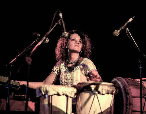 Lilli Elina, London based multi-instrumentalist; pianist, percussionist, bassist, and vocalist, playing percussion at Hootananny Brixton, London.