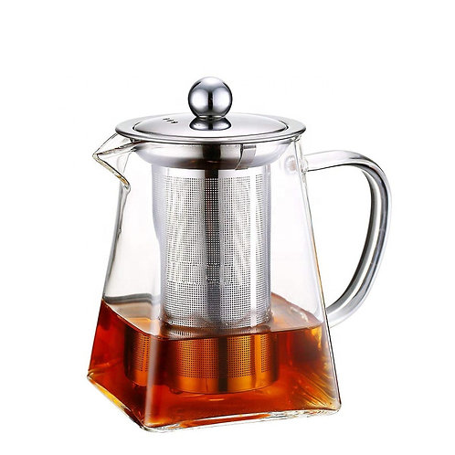 "32oz. High Borosilicate Glass ""Pyramid"" Style Tea Pot (Stovetop Safe)"