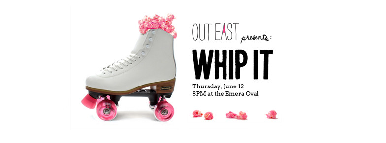 Roller skate next to info for Out East event