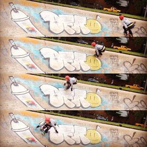 Four pictures of Coffin skating around a bowl