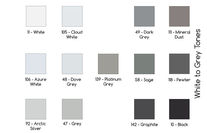 Fabric Color White to Grey