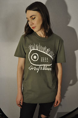 """Natalie McCool"" models t-shirt (tee) from Manchester Folktronica band Granfalloon. Clothing design by ""Gideon Conn"""