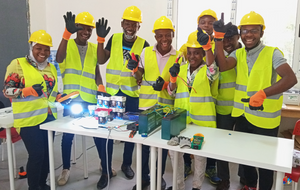 Excited learners at the end of the simulation phase during the training in solar entrepreneurship at Energy Generation