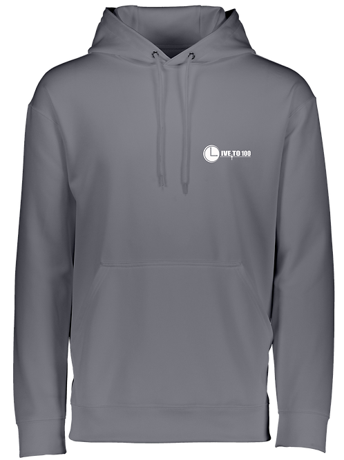 Live To 100 Unisex Graphite WICKING PERFORMANCE HOODIE