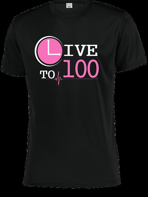 Live To 100 Black - Power Pink Print Performance Tee