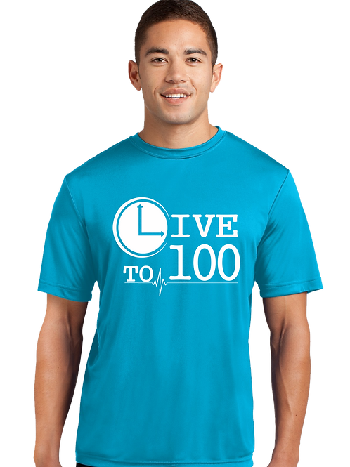 Live To 100 Competitor Tee  - Atomic Blue